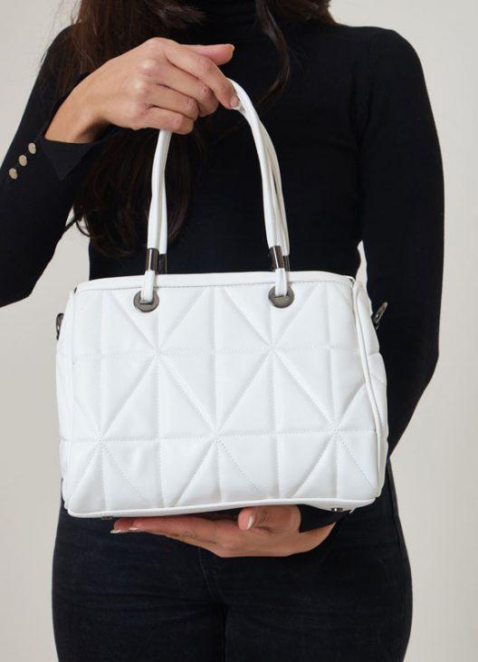 Diagonal Quilted Shoulder Bag - White