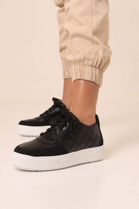 Quilted Ray Sneakers - Black