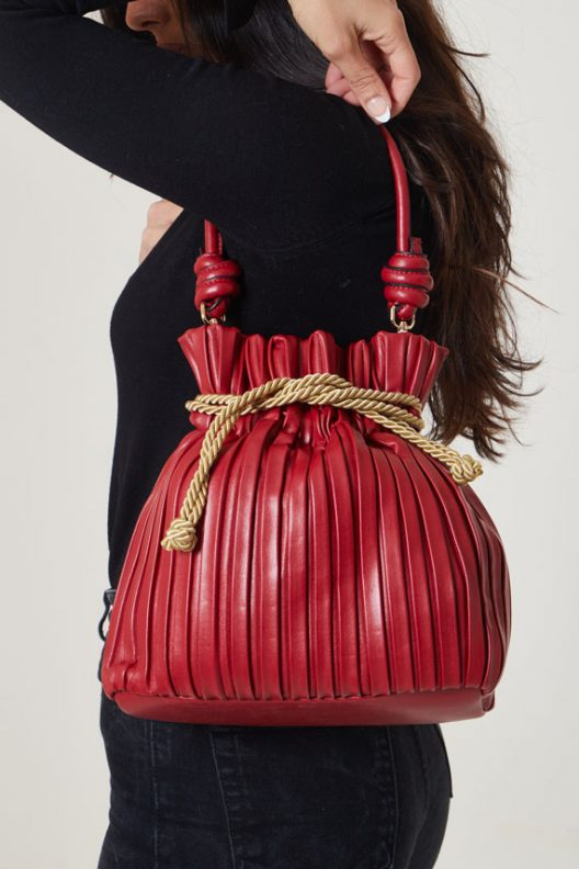Roman Rigged Hand bag - Red