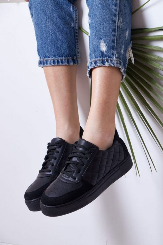 Quilted Ray Sneakers - Full Black