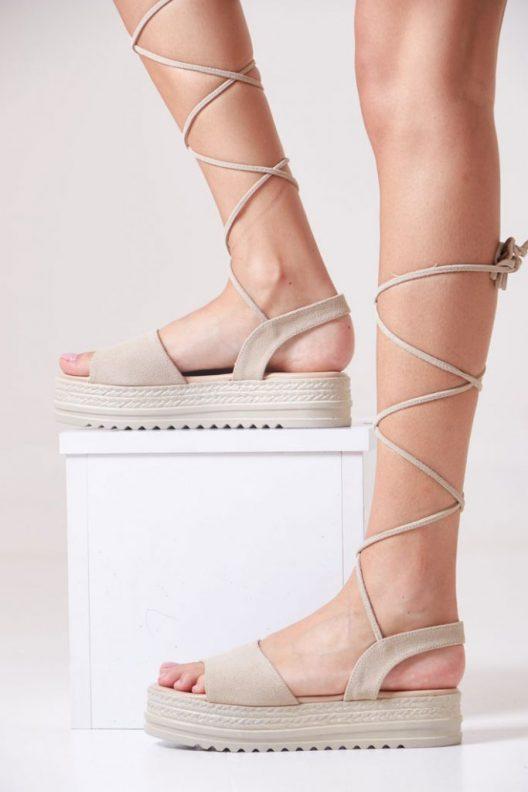 Gladis Platform Sandals - Beige