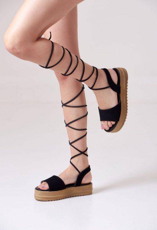 Gladis Platform Sandals - Black